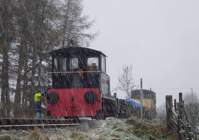"It takes a lot to stop the P-way gang (and the idiot with a camera!). Darlington with the works train on 4th December 2011 in heavy snow as we collected ""stop, look and listen"" signs for repair and renewal."