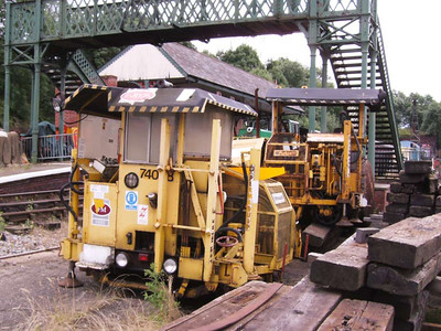 Permaquip ballast packers 74058 and 74059 from the Heritage Centre side of the railway