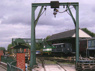 A general shot of the station, with Louise and the brakevan framed by the hoist and the only view I have of the Wickham (which I think is 10645 of 1972)