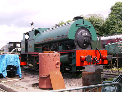 Mardy Monster (Peckett 2150/1954), seen in the yard, is a very large and powerful 0-6-0 saddle tank