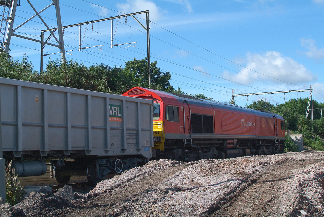 "Last DBS 59/2 required for a picture on the Chelmsford stone. 59205. 20.5.2017. The train ran  early as a Saturday extra so was unloaded early and where normally this spot is a hive of activity and a definite no-go area it had been ""job and finish"" today and they had all gone home. 6V12 10.00hrs Chelmsford Rec-Acton TC waits time. 30 minutes to go."
