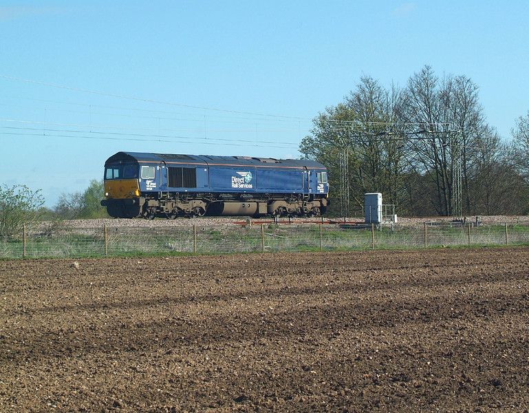 LAST ONE.<br /> 66426 Terling Rd.19.4.2016, 09.40hrs. 08.06 Norwich Crown Point T&RSMD-Wolverton Works to collect the final two or three coaches after refurbishment.<br /> All uniform now , except for the Virgins.<br /> <br /> NOT the last one. Saw a multi-coloured set heading towards Lpl. St. around 12.17hrs.