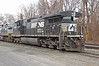 Norfolk  Southern General Electric C40-9W # 9955 seen here at Allentown stabling point 25 November 2008. Note the large flared radiator banks mounted this end required to dissipate all that heat.