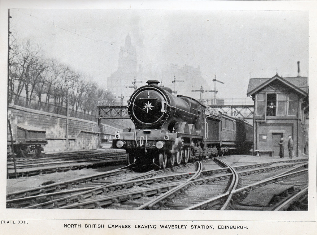 Every Boy's Book of Railways and Steamships By Ernest Protheroe.<br /> A North British service departs Edinburgh Waverley. Date unknown but is before the books published date of 1911.