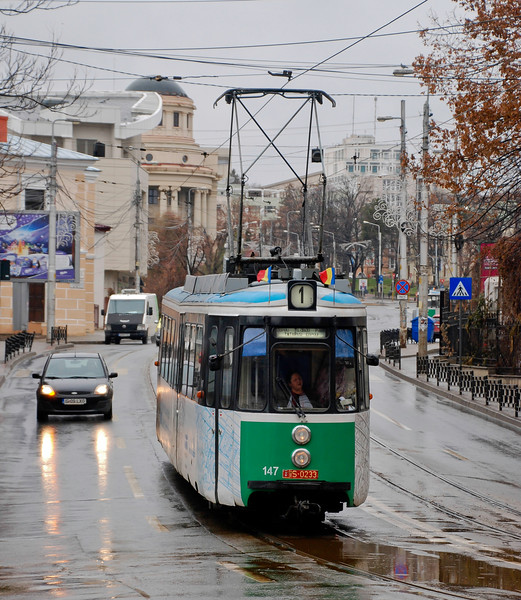 Tram 147 has nearly completed its long descent from the university and park area of the city into the city centre The dome of the central university library can be seen in the background
