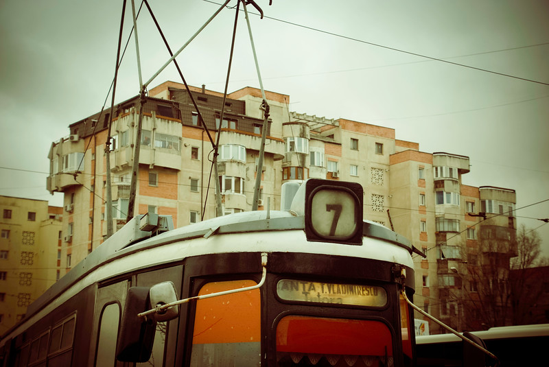 Detail of tram on route 7 at the turning circle terminus at Rond Carta.