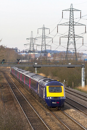 FGW power cars 43026 & 43022 have charge of 1B42 14.15 Paddington to Cardiff Central passing Duffryn, Newport. Thursday 28th February 2013.