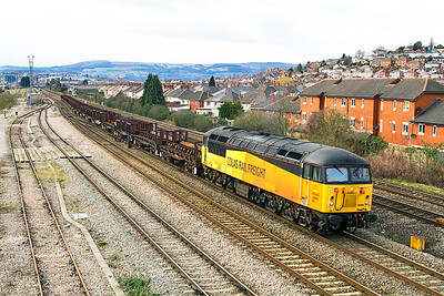 The first Class 56 to work a revenue earning steel train in South Wales since 56115 passed this point on the 30th March 2004 with an Orb Steelworks to Llanwern trip working. 56094 has charge of 6F04 14.30 Newport Docks to Llanwern empty steel carriers passing East Usk. Wednesday 13th March 2013.