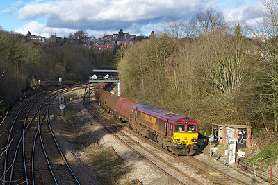 66067 heads 6H26 13.30 Llanwern Exchange Sidings to Margam trip working past Gaer Junction. Saturday 2nd February 2013.