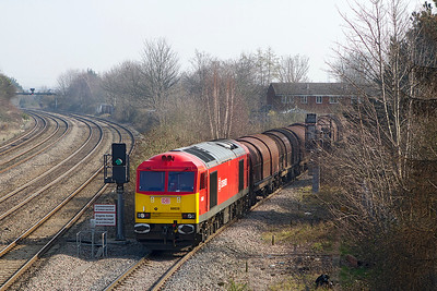 60020 pushes 6H35 09.32 Margam to Birdport down the East Usk branch. Tuesday 5th March 2013.