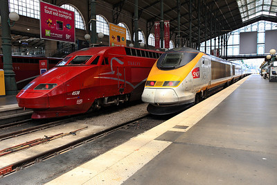SNCF domestic Eurostar set 3305 and TGV Thalys set 4538 on the blocks at Gare du Nord. 04/06/2011