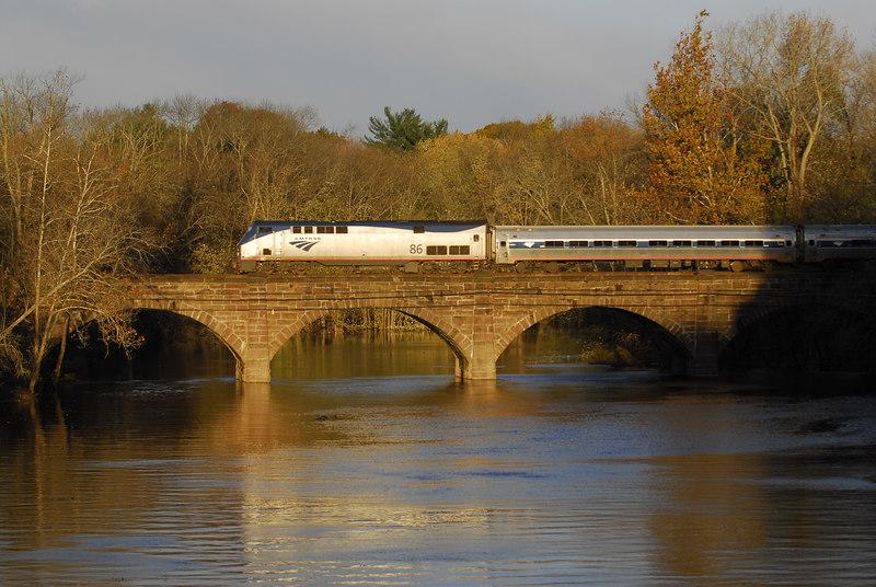 Amtrak train 143 crossing the Farmington River at Windsor Ct.