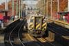 Harrisburg bound Amtrak train 667 heads south thought Elizabeth, NJ on the North East Corridor. November 4, 2006.