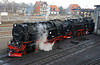 We planned to travel to Drei Annen Hohne and then walk back to Wernigerode through the hills. At Wernigerode two of the 2-10-2Ts simmer outside the shed.
