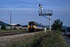The following morning a Wales and West class 150 passing the Bromfield home signal, between Craven Arsm and Ludlow.