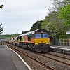 66850 top and tail 66849 6C20 Llandeilo Junction to Westbury at Llangennech 28/4/19.