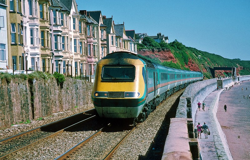 43061 06:05 Leeds to Newquay at Dawlish 8/8/1998.