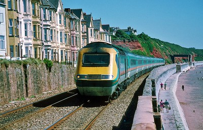 43061 06:05 Leeds to Newquay at Dawlish 8/8/1998.