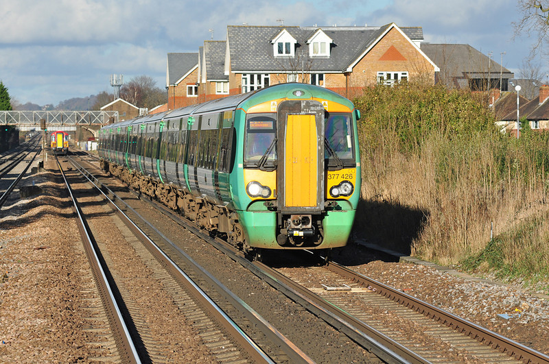 Southern Electrostar 377426 heads down the Brighton mainline, next stop Gatwick airport 11/01/2014.