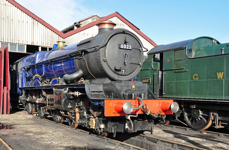 """6023 """"King Edward II"""" gleams in some Winter sun at Didcot. Having had 2 broken springs replaced & having passed the annual steam test for insurance, the hope is to return the King to the mainline asap."""