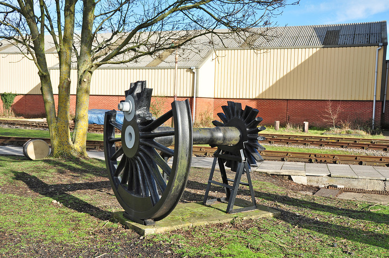 One of the scrap driving wheels from 6023 King Edward II on display at Didcot. The wheels were cut through when she derailed in Woodhams scrapyard.