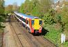 SWT 458013 seen here departing Wokingham heading for London Waterloo 13/04/2014.
