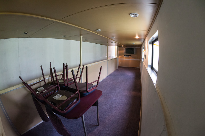 Bottom level dome Otter Rapids 900. Corridor at left, unused space at right. Fisheye view 2009 June 26.