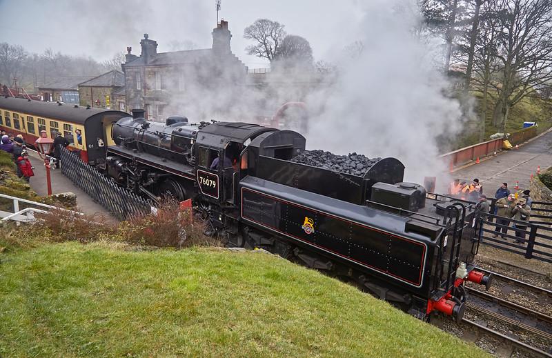Steam Locomotive Ex BR 76079 at Goathland Station - 15 March 2016