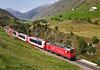 Matterhorn Gotthard Bahn No 108 named 'Channel Tunnel' seen Nr Hospental with the 09.13hrs Zermatt - St Moritz  Glacier Express.<br /> 21/8/2011