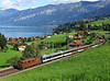 BLS No 162 Overlooks Lake Thun as it approaches Spiez with the 17.08hrs Goldenpass panoramic service from Interlaken Ost to Zweisimmen & Montreux.This loco was one of the first in the class to be built, outshopped in 1965. 		<br /> 31/08/2010