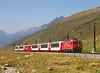 101 On the 09.13hrs Zermatt - St Moritz Glacier Express seen at Oberalppass<br /> 22/08/2011