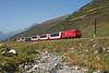 105 seen on the 09.00hrs Zermatt - Davos Platz Glacier express seen at Oberalppass<br /> 22/08/2011