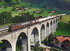 167 on a refrigerator train crossing Kander viaduct	 at Frutigen	<br /> 20/08/2011