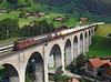 167 on a refrigerator train crossing Kander viaduct at Frutigen<br /> 20/08/2011