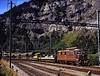 188 departs Kandersteg on the rear of one of the none stop car trains through the Lotschberg tunnel a distance of 14612m between Kandersteg & Goppenstein <br /> 26/8/2006