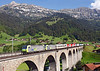 485016 + 485006 on a Northbound lorry train from Novara to Freiburg crossing the Kander Viaduct at Frutigen<br /> 20/08/2011