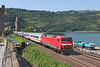 120150 heads South for Frankfurt on a Express passenger train seen at Oberwesel	<br /> 24/07/2012