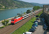 101137 heads North up the Rhine on a Express passenger service for Koblenz and beyond	 for once a car or bus was not passing on the road behind the engine taken from a tower at Oberwesel	<br /> 24/07/2012
