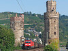 185290 is dwarfed by the old town towers at Oberwesel		<br /> 27/07/2012