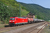 After a very quiet spell of northbound freight at Kaub it was pleasing to see this freight winding its way up the Rhine valley with a clean 185 at the helm the day before this train had been worked by a class 66.	<br /> 25/07/2012