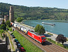 A typical Rhine scene at Oberwesel as 185298 is seen on a intermodal, as a Barge also heads South with its cargo 	<br /> 24/07/2012