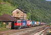 Swiss loco 421387 is seen passing Kaub on a Northbound intermodal		<br /> 25/07/2012