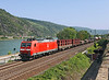 185027 races a right bank freight North up the Rhine seen from the old restored town walls of Oberwesel	<br /> 24/07/2012