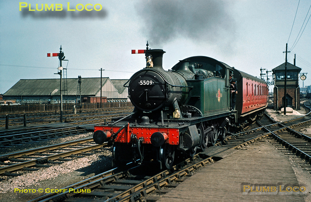 "From the Geoff Plumb Collection of original slides. With the clock on the signalbox at 11:05, GWR 4575 class ""Small Prairie"" 2-6-2T No. 5509 is arriving into the east end of Swindon station with a two-coach local train, though what the working is I do not know. Saturday 3rd May 1958. Photo by D.E. White. Collect Slide No. 29329."