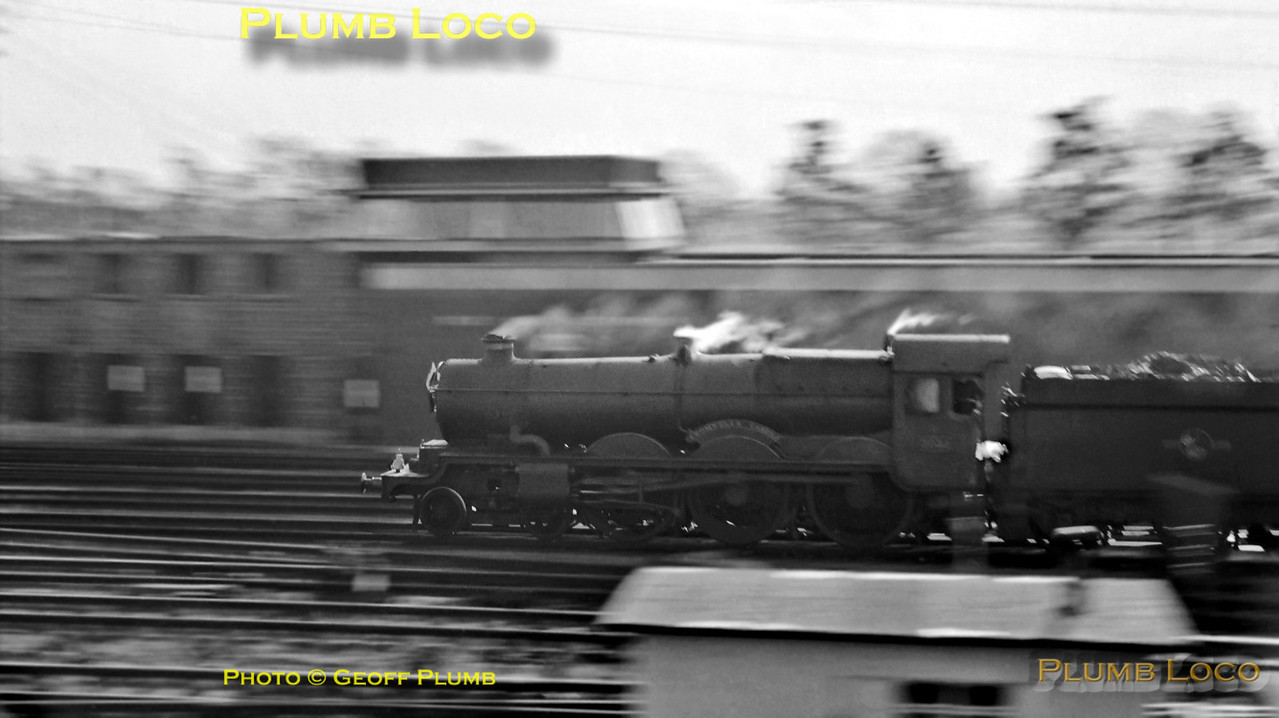 "An early attempt at a panning-shot, not altogether brilliant! GWR ""Castle"" Class 4-6-0 No. 7031 ""Cromwell's Castle"" races towards Paddington with an up express at Old Oak Common on Monday 29th October 1962. B&W Neg No. 225."