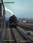 Seen from a DMU en route from Crewe to Derby, a down goods train comes the other way behind 8F 2-8-0 No. 48114, near Radway Green. Tuesday 14th February 1967. Slide No. 2700.