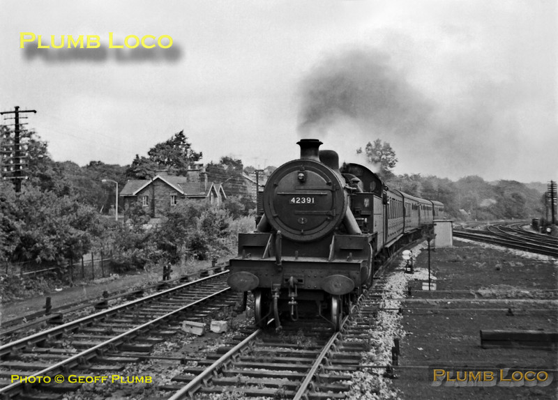 LMS Fowler 2-6-4T No. 42391 approaching Dore & Totley station with a stopping passenger train from Sheffield to Manchester via the Hope Valley, Tuesday 14th August 1962. B&W Neg No. 141.