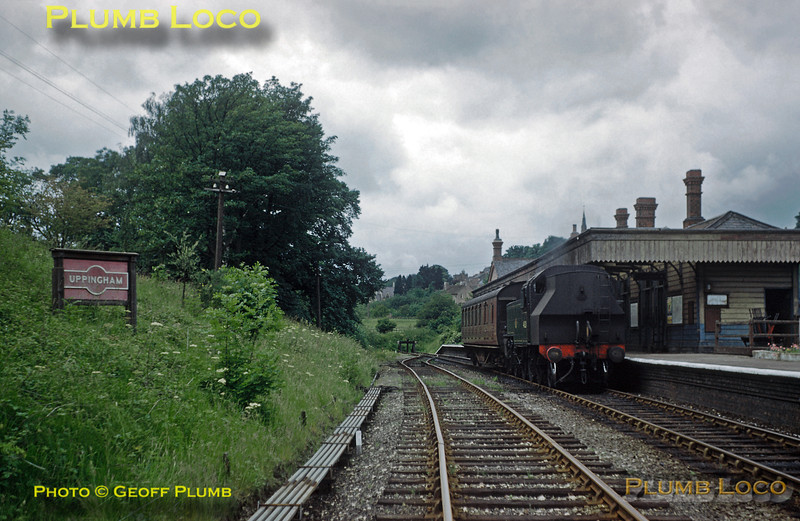 From the Geoff Plumb Collection of original slides. LMS Ivatt 2MT 2-6-2T No. 41321 has worked the 13:15 train from Seaton to Uppingham and has now run round its single coach train before returning to Seaton on Saturday 11th June 1960. This was the final weekend of passenger services over the branch as it closed on Monday 13th June 1960. It remained open for goods for a while longer and occasional school specials and railtours also ran. Photo by D.E. White. Collect Slide No. 29353.