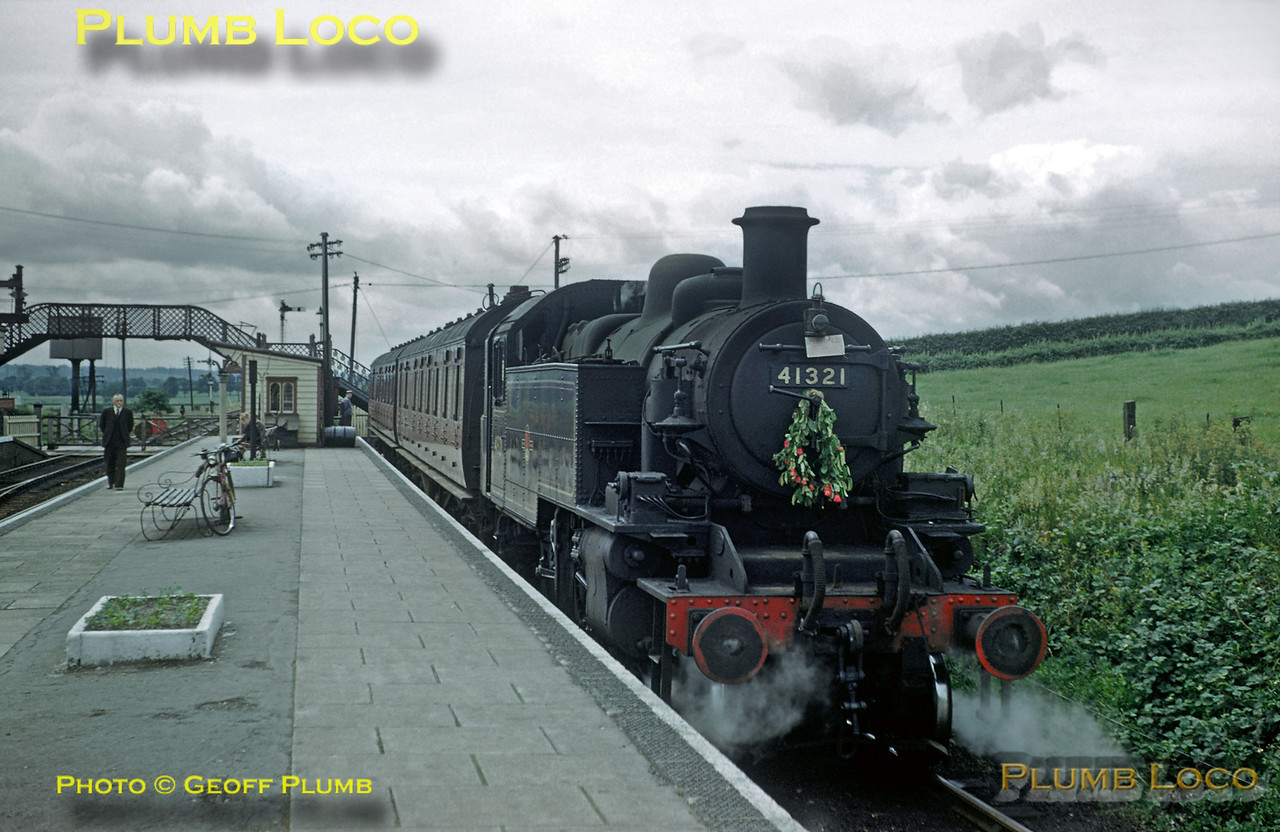 "From the Geoff Plumb Collection of original slides. Ivatt Class 2MT 2-6-2T No. 41321 sits in the bay platform at Seaton station with the 13:15 departure for Uppingham on Saturday 11th June 1960. This was the last weekend of passenger services on the branch, closed from Monday 13th June 1960. Occasional school  and other specials used the branch until its final closure to all traffic in June 1964. Note the rather bedraggled wreath on the smokebox door, the note below the top lamp reads ""For Sale""! Photo by D.E. White. Collect Slide No. 29351."
