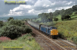 Class 40 EE Type 4 1 Co-Co 1 DE No. 40015 in BR Blue livery heads south away from Hellifield towards Skipton with an unidentified excursion train, Wednesday 22nd August 1979. Slide No. 14643.